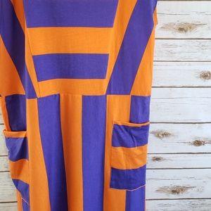 Zara Dresses - Zara Block Striped Midi Dress Orange Purple